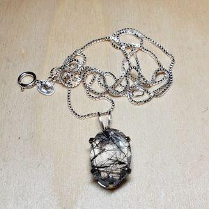 Jewelry - Unique tourmalinated quartz pendant and chain